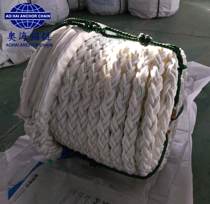 Double-layer multi-strand raided polypropylene/polyester mixed mooring rope