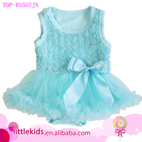 Baby Girls Aqua Blue Rosettes Bow Bodysuit Tank Tutu Romper Party Dress Easter Dress Up Outfit Set