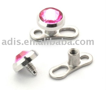 G23 Titanium dermal anchor piercing,skin diver body jewellery