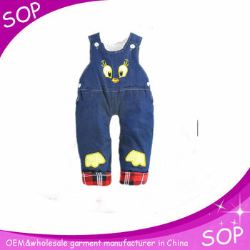 Cute parttern printed cartoon girls overalls children jeans suspenders trousers