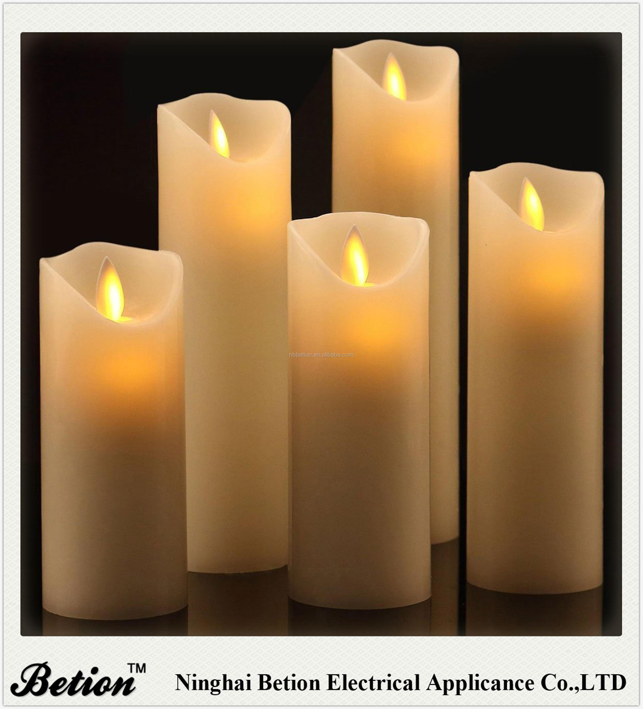 led candles set of 5 dancing flame wax candles with remote control paraffin flickering moving wick candles led candles factory