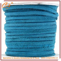 DIY bracelet making rope, turquoise faux suede flat leather cord 3mm