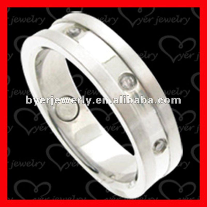 Silver color for titanium finger ring magnetic