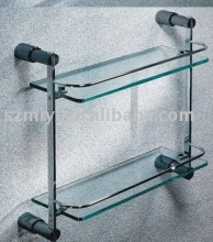 Dual tier bathroom glass shelf
