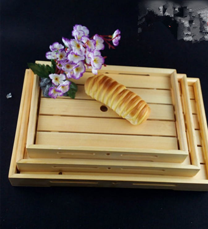 Custom Wooden Bread Tray Solid Wood Tray with Plate