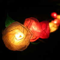 Rose Flower String Lights/Fairy/Lamp Handmade From Natural Leaf For Home/Christmas Decor/Lighting, LED Available, CE/GS/SAA/UL