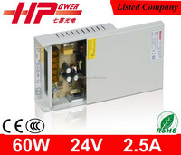 CE RoHS approved Guangzhou factory direct sell rainproof series 60w 24 volts single output switching power supply 60w 24 dc smps