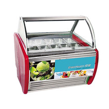 Horizontal italian refrigerated ice cream display case with semi curved glass