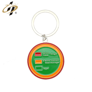 2018 Metal products producer custom enamel round shape keychain