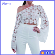 Wholesale Fashion Long Sleeve Blouse White Lace Tops For Ladies