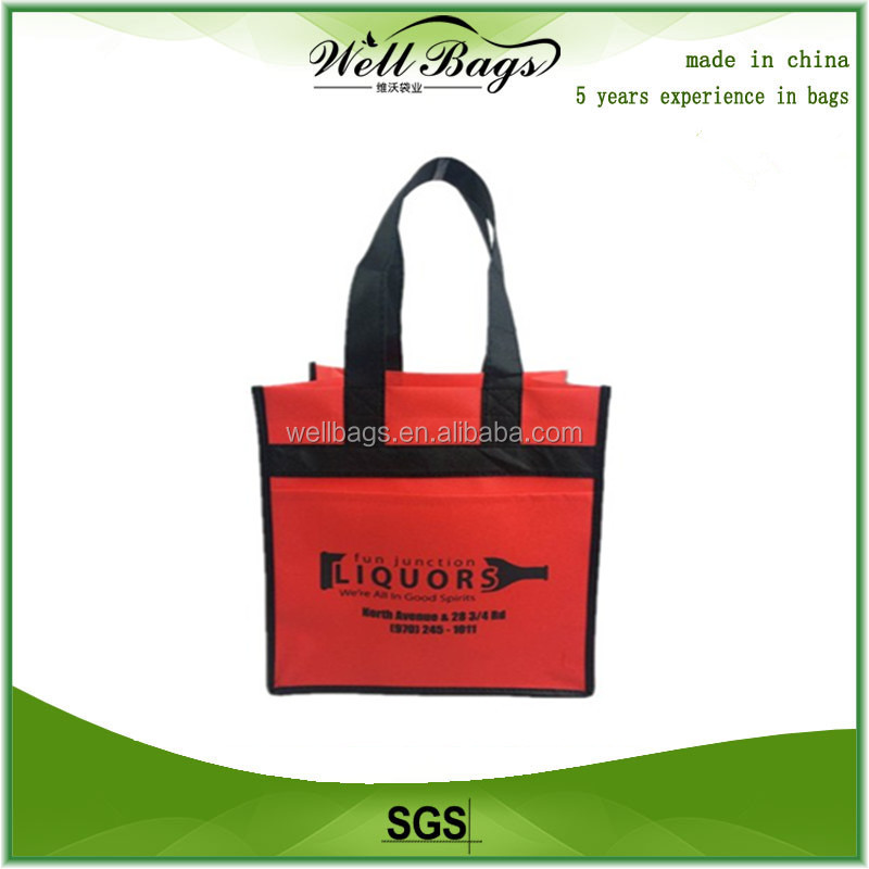 Factory sale promotion wine bag 100% reusable, 2 bottle wine bag,promotion bag