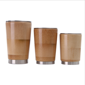 Wholesale Natural Bamboo Stainless Steel Coffee Thermos Cup Travel Tumbler coffee Cup