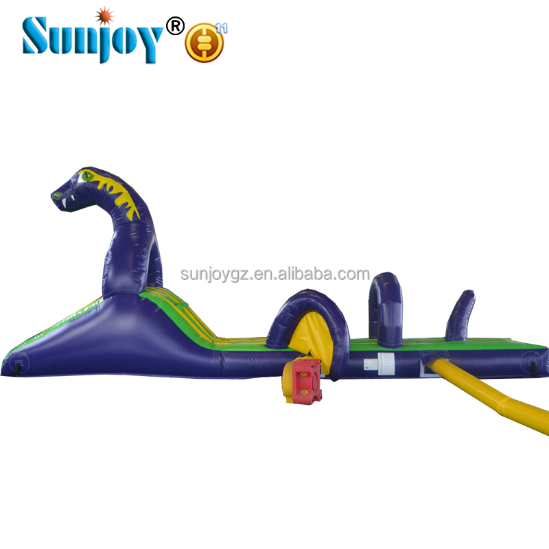 Swimming pool games dinosaur obstacle course equipment for adults, factory price inflatable dinosaur obstacle course