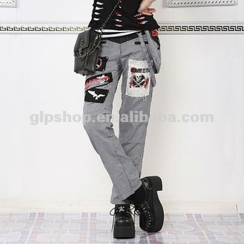 Unisex Punk Rave Goth Skeleton Trousers Removable Legs 71155