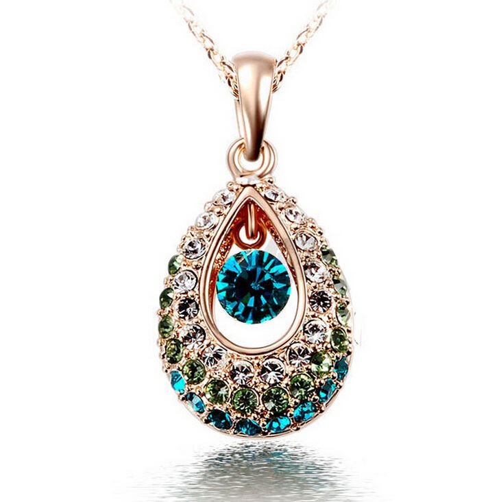 Hottest Gold/Silver Teardrop Crystal Necklace Jewelry,Colorful Crystal Rhinestone Necklace Cheap Jewelry Wholesale