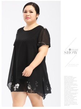 OEM summet plus size clothing fat women chiffon embroidery white flower sew on black dress