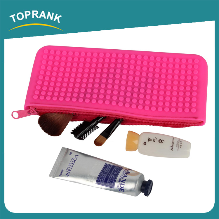 Toprank New Arrival Waterproof Europe Fashion Cosmetic Bag Pouch Ladies Zipper Silicone Hand Bag Storage Silicone Tote Bag