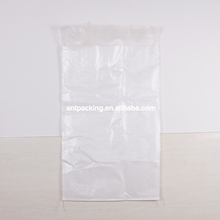 Cheap Alibaba white PP Woven Packing Bag with Clear bag liner 25kg 50kg for Sand,cement,grain,fertilizer,food