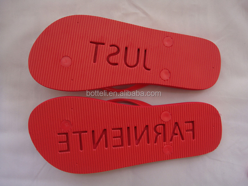 women eva beach flip flops with die cut and embossed logo