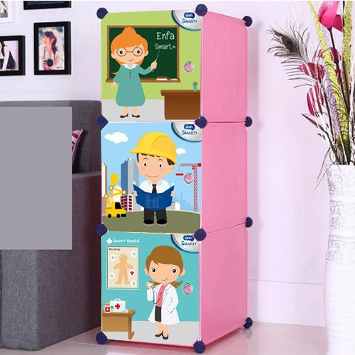 Customer desings available for ,teacher,engineer ,astronaut designs 3 cubes storage bookcase (FH-AL0013-3L)