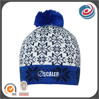 wholesale blue pompom jacquard embroidery winter beanie hats