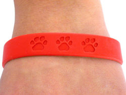 Lead, Nickel & Cadmium Free Bright Red Silicone Paws Bracelet