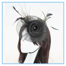 Elegant Black Color Party Feather Fascinator Women Fascinator Hats For Weddings