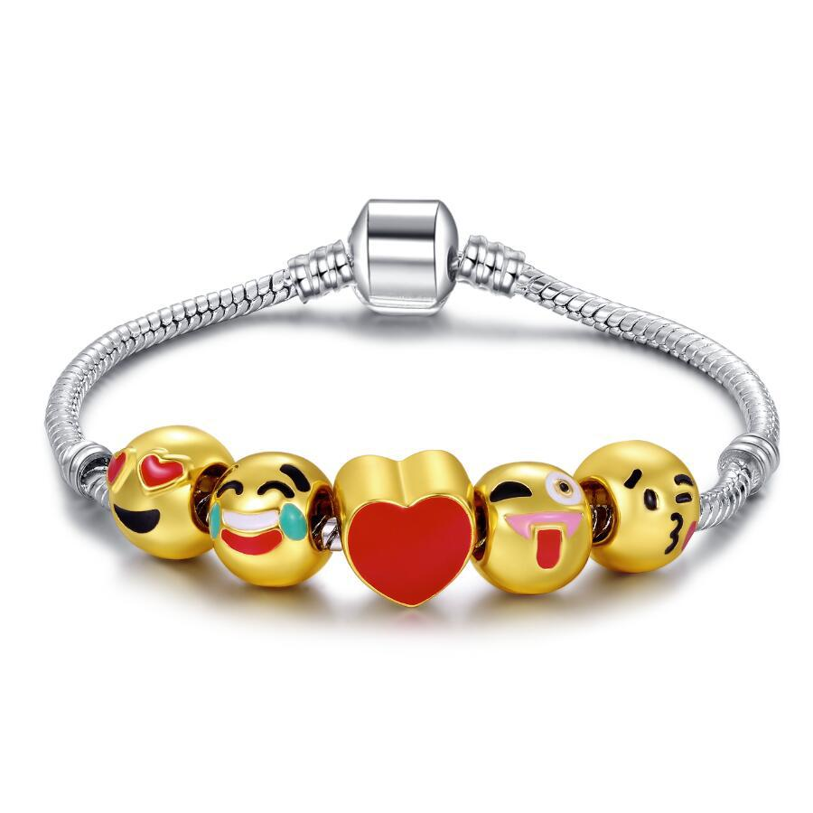 <strong>18</strong> <strong>K</strong> Gold Plated Emoji Bead Bracelet With Snake Chain Christmas 5 charms emojis Bracelet