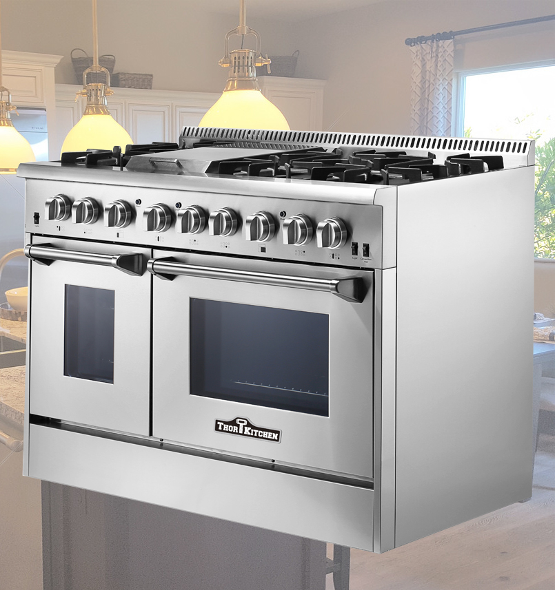 commercial electric range with grill top