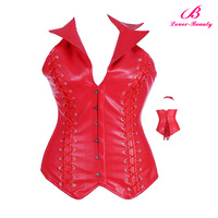 NO MOQ sexy women lace up decoration steel boned red leather corset