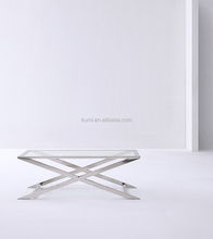 Modern Furniture Home Goods Metel Coffee Table Design Glass Tea Table Stainless Steel Tempered Glass Leg Coffee Table