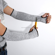 Grey HPPE Protective Arm Sleeves <strong>Safety</strong> Cut Resistant Knit Sleeve with Thumb Hole