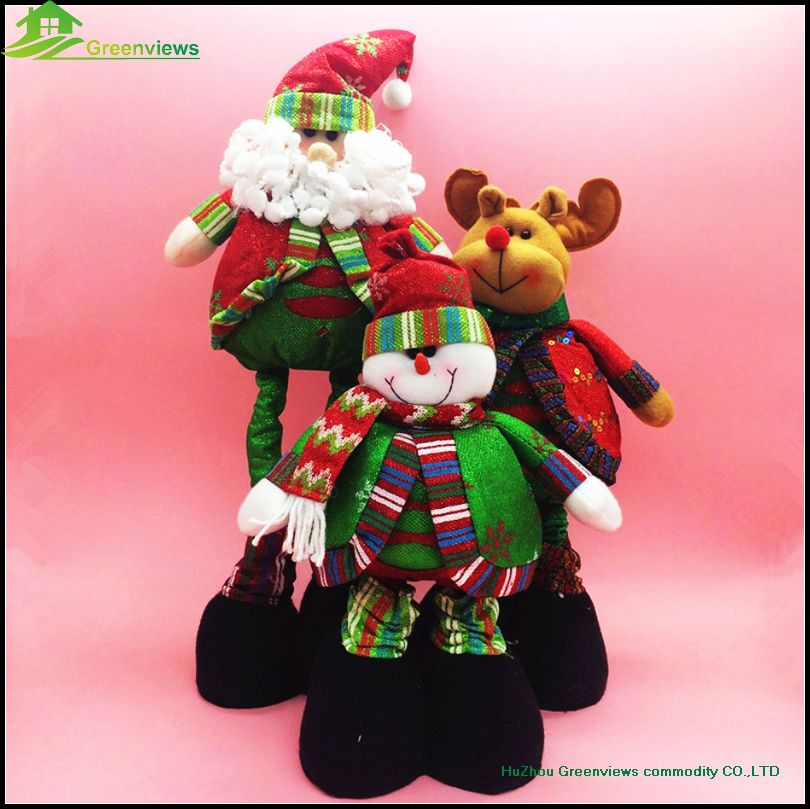 Christmas party decoration 50CM extension plush snowman outdoor Santa Claus And Christmas reindeer toys