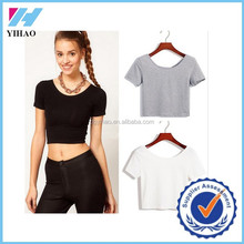 Yihao Fashion Woman O-neck Sexy Lady Short Sleeve T Shirt Blouse Crop Top 2015