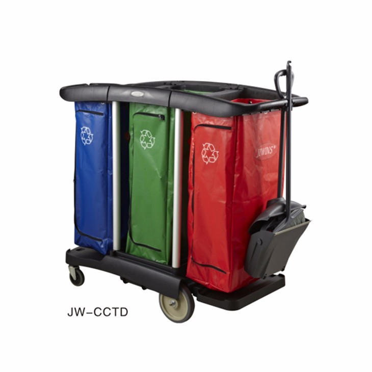 MUK hotel restaurant supplies triple capacity cleaning cart with vinyl bags