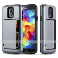 For Samsung Galaxy S5 Armor Dual Layer TPU+ PC Hard Back Case With Card Slot