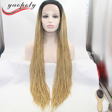 Alibaba hot selling box braided hair wig full hand tied afro kinky twist synthetic lace front wigs for African