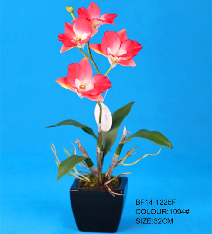 Red dendrobium orchid artificial flower for home decoration