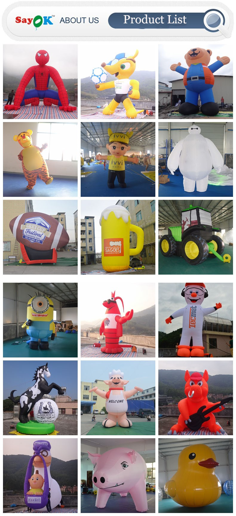 wholesale moving inflatable advertising cartoon costumes adult inflatable dolls