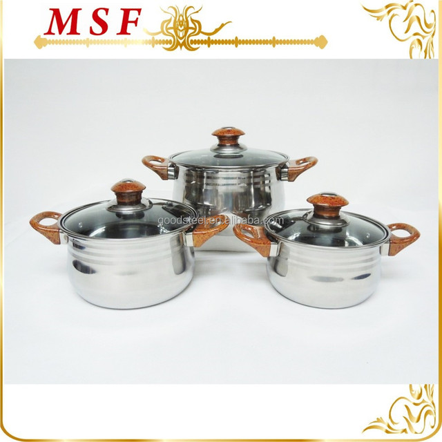 Factory manufacturer stainless steel 6pcs cookware set removable brown bakelite handle thermometer casserole hot potset MSF-3288