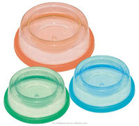 FUCHSIA, TURQUOISE, LIME GREEN, ORANGE ROUND PP PLASTIC COVERED PET FOOD BOWL