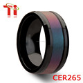 Black Tungsten Ceramic Ring with Blue/Purple Color Changing Carbon fiber inlay