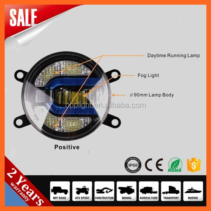 car fog lights 3.5inch 90mm front fog light with drl for renault megane