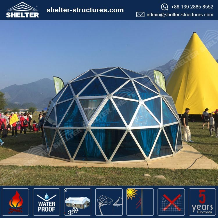 2017 Newest outdoor top quality glass geodesic dome tent for garden retreat green house