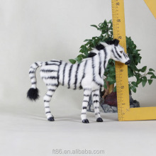 flocked lifelike forest animals plush zebra toy