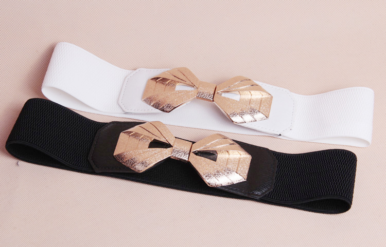 wp1037a Elastic Butterfly Hook Buckle Ladies Waist Belt