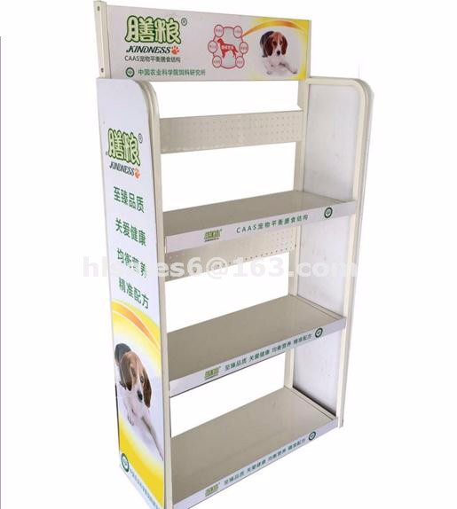 Metal display stand for pet food products store