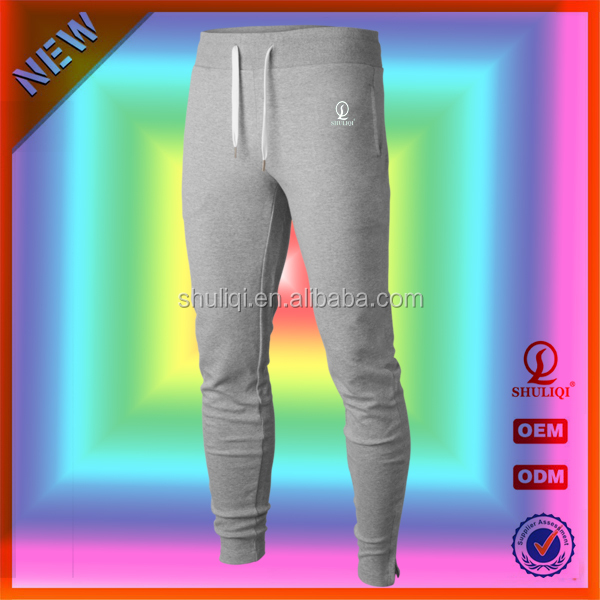 Slimming jogger pants narrow bottom jeans pants brush/terry fleece embroidered logo