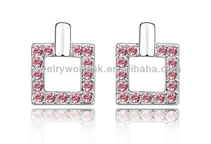 Wholesale Authentic Austrian rose pink crystal 18k white gold plated square stud earrings