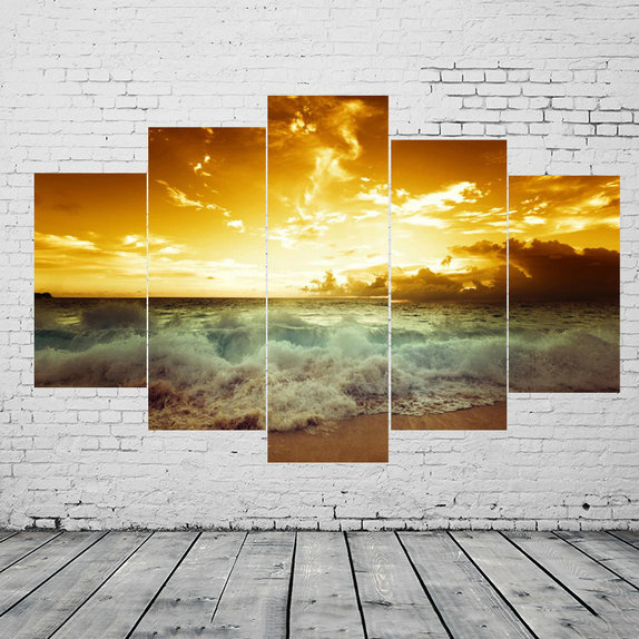 Unframed 5 Panels Group Canvas Wall Art Printed Landscape Oil ...
